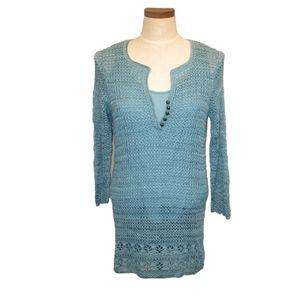 Emma James Crochet Lined Aqua Tunic Mini Dress LP